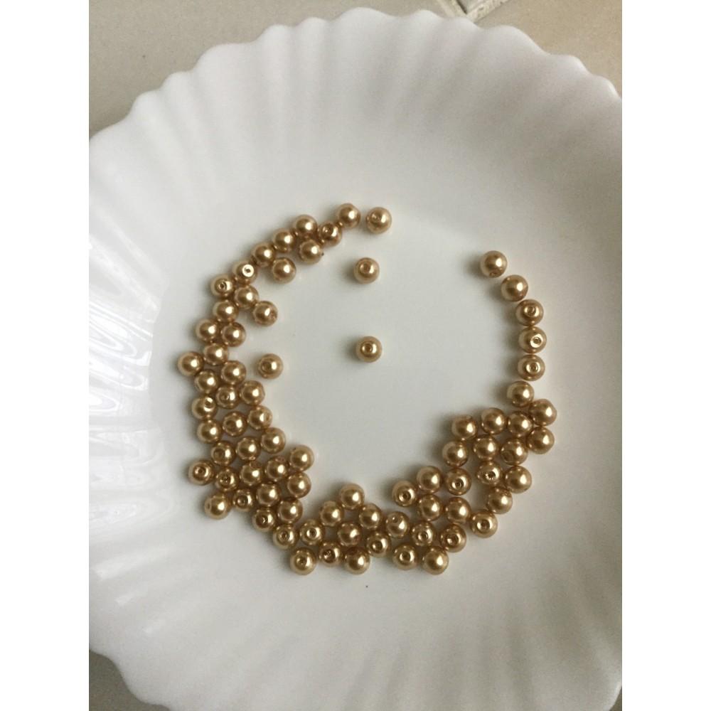perle en verre ronde couleur or de 8 mm. Black Bedroom Furniture Sets. Home Design Ideas
