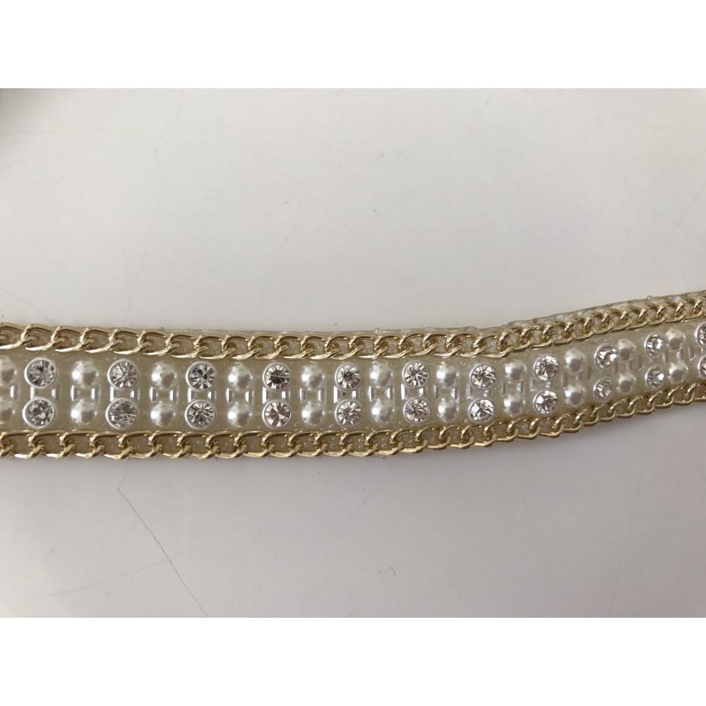 Ruban de perle et strass a coller au fer repasser 16 mm en largeur - Bracelet perle et ruban ...