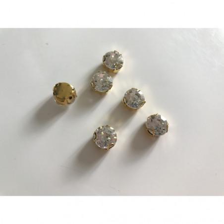 Cristal serti a coudre socle doré 10 mm