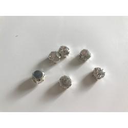 Cristal serti a coudre socle argenté 10 mm