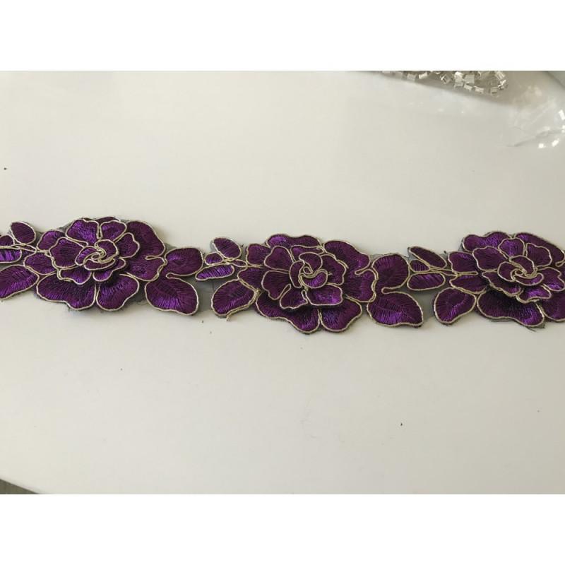 Dentelle violet  et doree 6,5 cm largeur