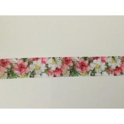 Ruban 3 d gros grain rose fleur  25 mm largeur