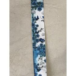 Ruban 3 d gros grain bleu à fleur  25 mm largeur