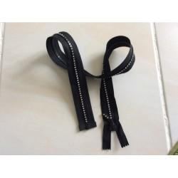 Fermeture éclair avec strass noir 70 cm