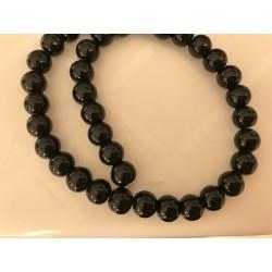 Perle noir en verre 8 mm