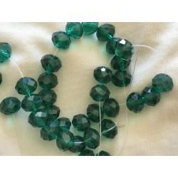 Perle en cristal vert emeraude de 10  mm
