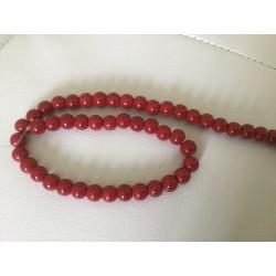 Perle bordeaux en verre 8 mm