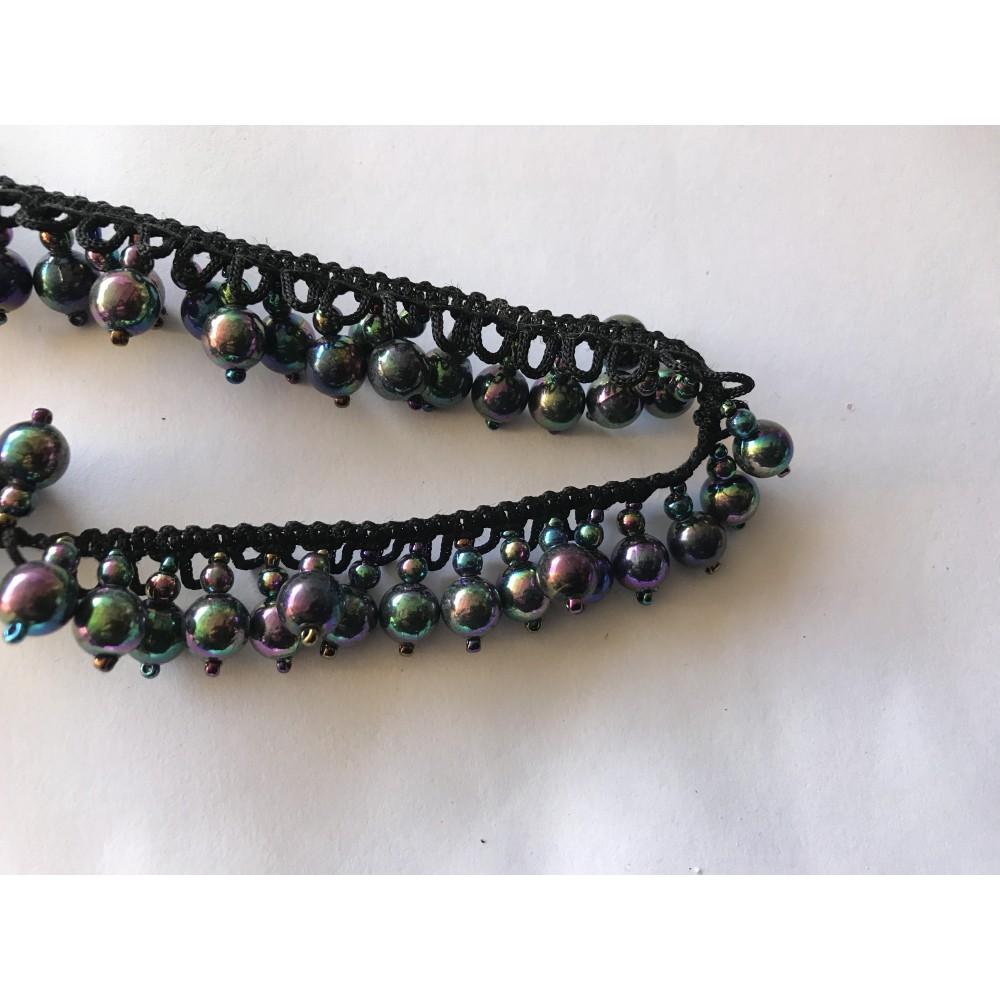 Ruban de perle acrylique noir