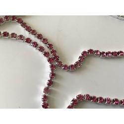 Chaîne de cristal rose 3 mm