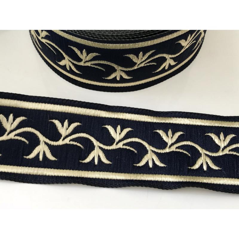 Galon medieval noir et doré 3,5 cm