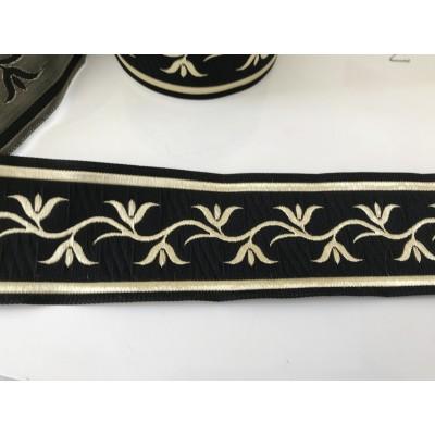 Galon medieval noir et doré  5 cm