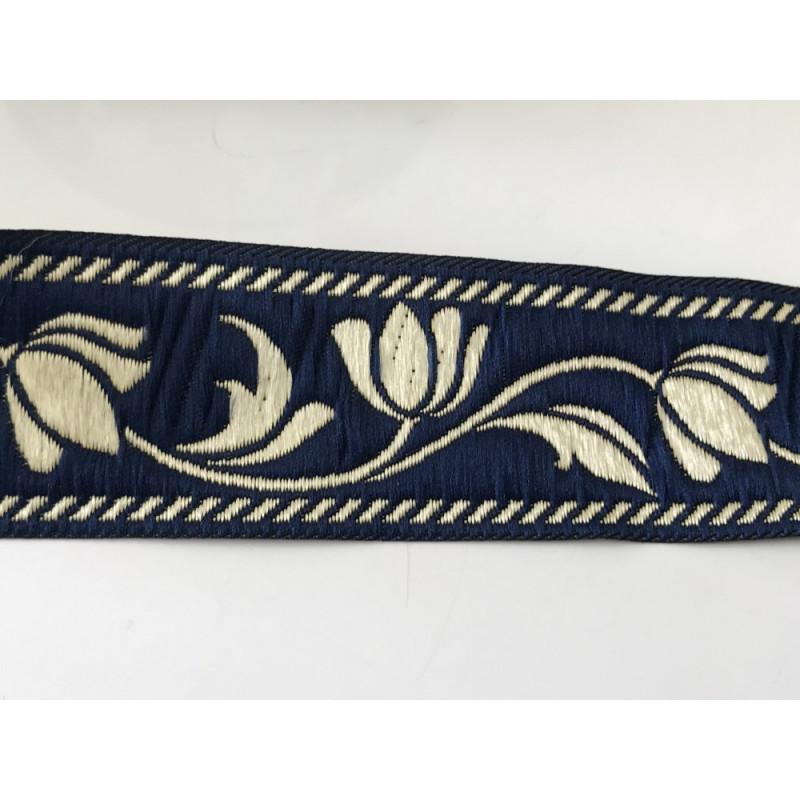 Galon medieval bleu et doré   3,5 cm