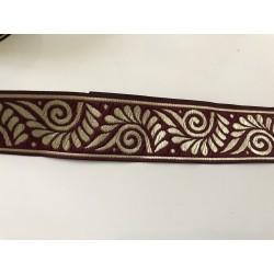 Galon medieval bordeau  et doré 3,5 cm