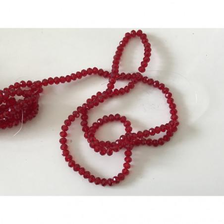 Perle en cristal à facette 4 mm rouge