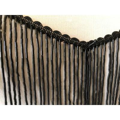 Frange perle noir 15 cm en largeur
