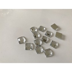 Lot de 5 gr de strass caré acrilique en 8 mm argente