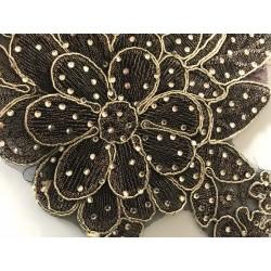 Applique noir et doré avec strass 24*20 cm