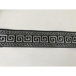 Galon medieval Noir et argenté    3,5 cm