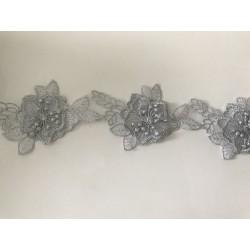 Dentelle 3 d couleur gris argent