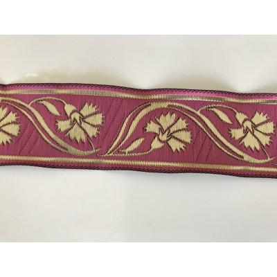 Galon medieval rose fushia 3,5 cm