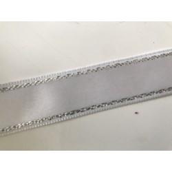 Ruban blanc  liserai argenté  Largeur de 2 cm