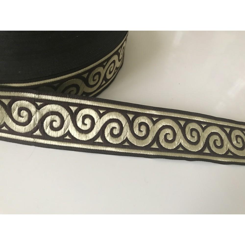 Galon medieval marron et doré 3,5 cm