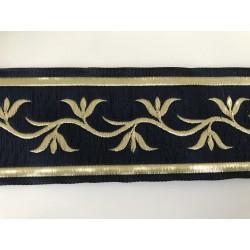 Galon medieval bleu et doré  5 cm