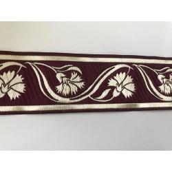 Galon medieval bordeau et doré  5 cm