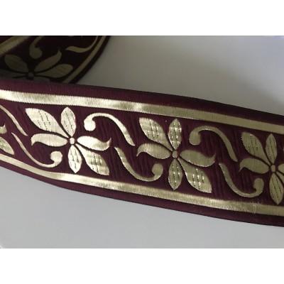Galon medieval bordeaux et doré 7 cm