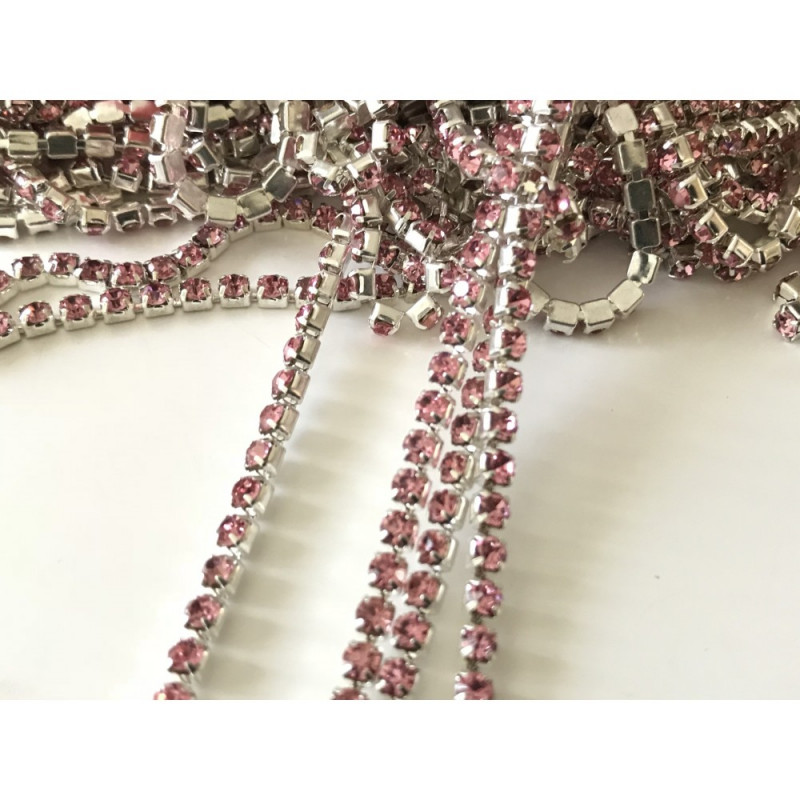 Chaine de Strass 3 mm rose clair