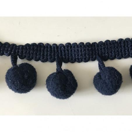 Ruban pompon 12 mm bleu marine