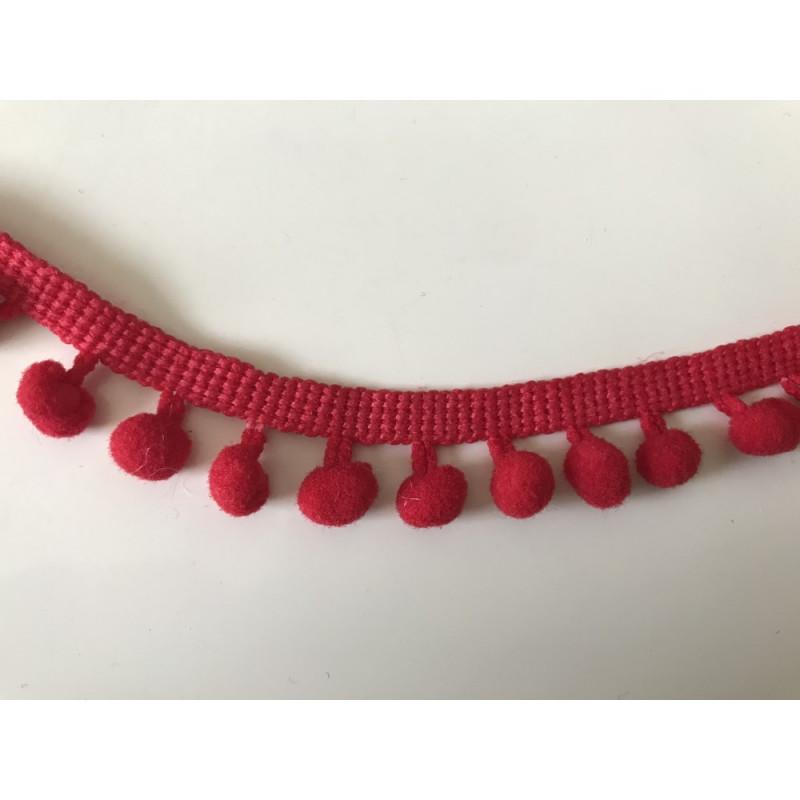 Ruban pompon 6 mm rouge
