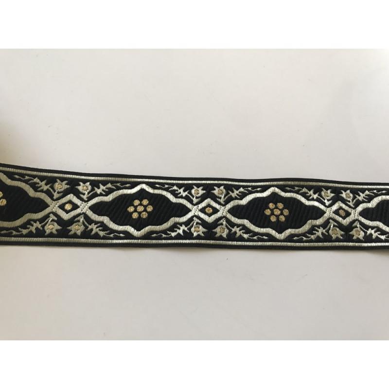 Galon medieval 3,5 cm noir doré