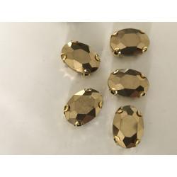 Strass cristal ovale  doré...