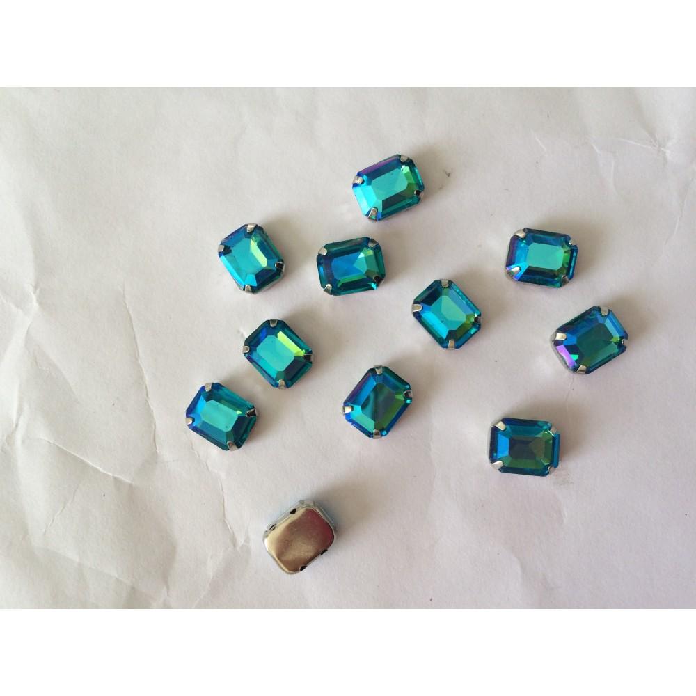 Lot de 10 strass sertie en cristal rectangle